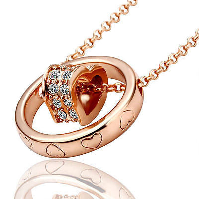 Rose Gold Filled Solid LOVE HEART Ring Pendant  Necklace - Pendants and Charms