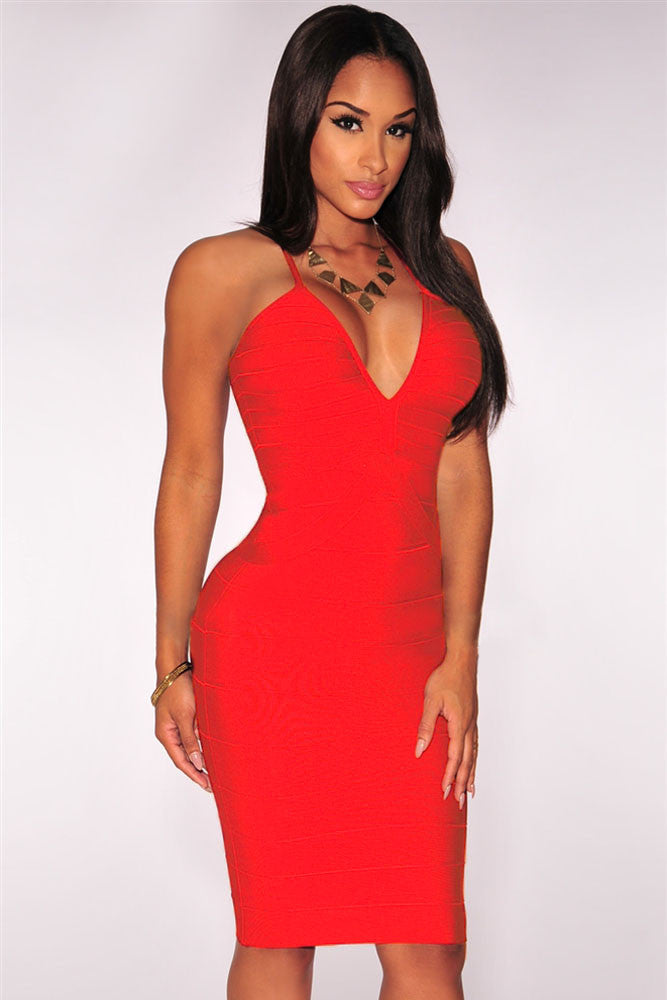 Red Crisscross Plunging Bodycon Bandage Dress - Pendants and Charms