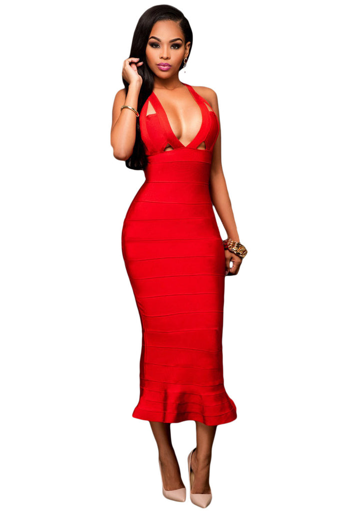 Red Frill Long Sleeveless Bodycon Bandage Dress - Pendants and Charms