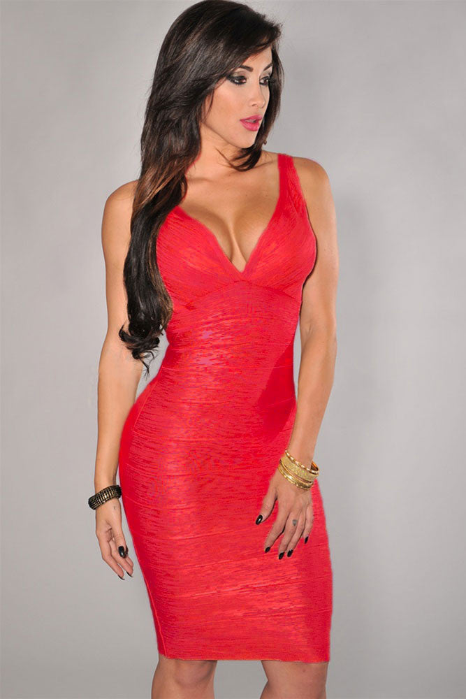 Red V-Neck Foil Print Bodycon Bandage Dress - Pendants and Charms