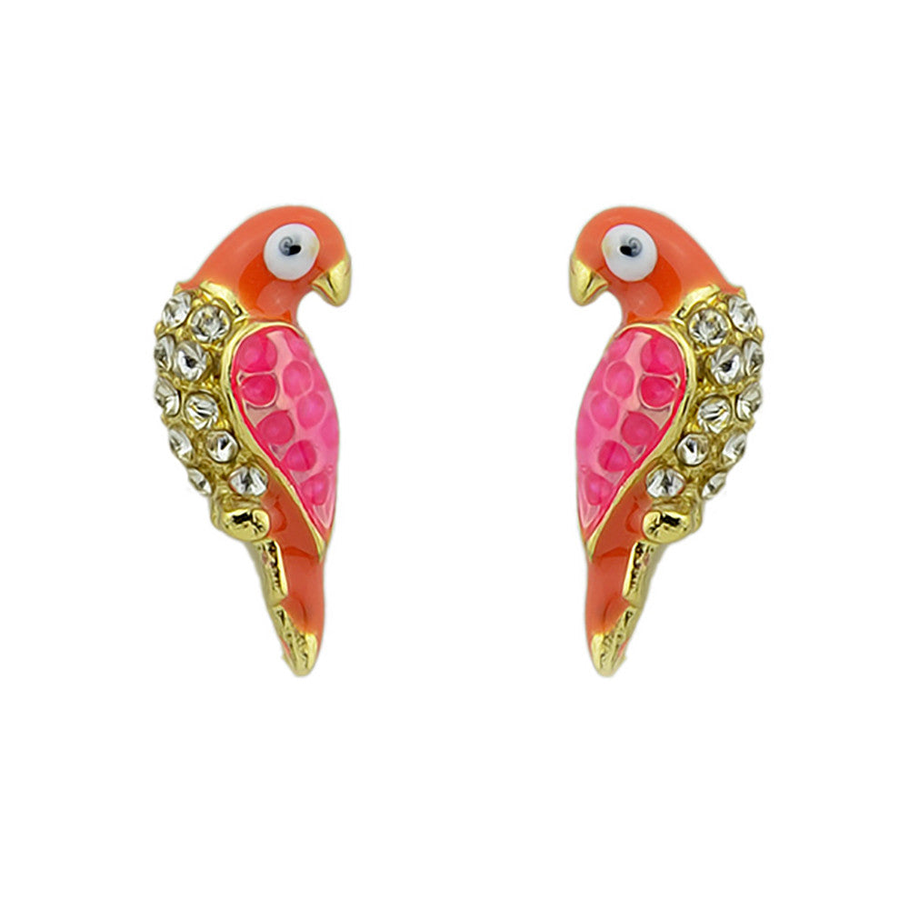 Red Orange Pink small enamel parrot bird Stud Fashion Earrings - Pendants and Charms