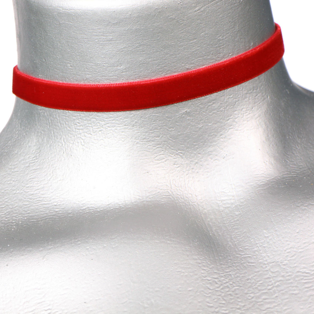 Red 10mm Velvet ribbon choker plain Choker Necklace 3 sizes !!! - Pendants and Charms
