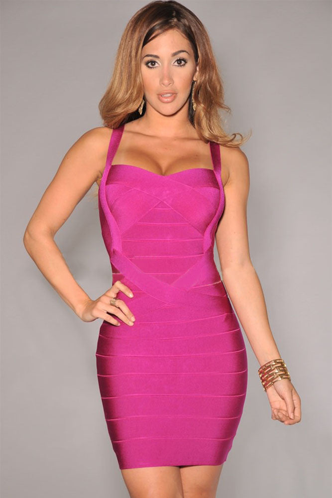 Pink Sleeveless Bodycon Bandage Dress - Pendants and Charms