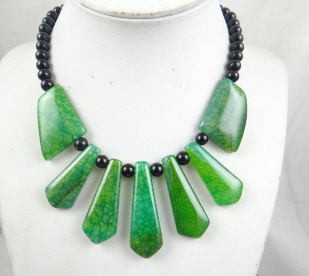 SEDIMENT JASPER & agate Handmade Gemstone Jewellery Necklace Green - Pendants and Charms