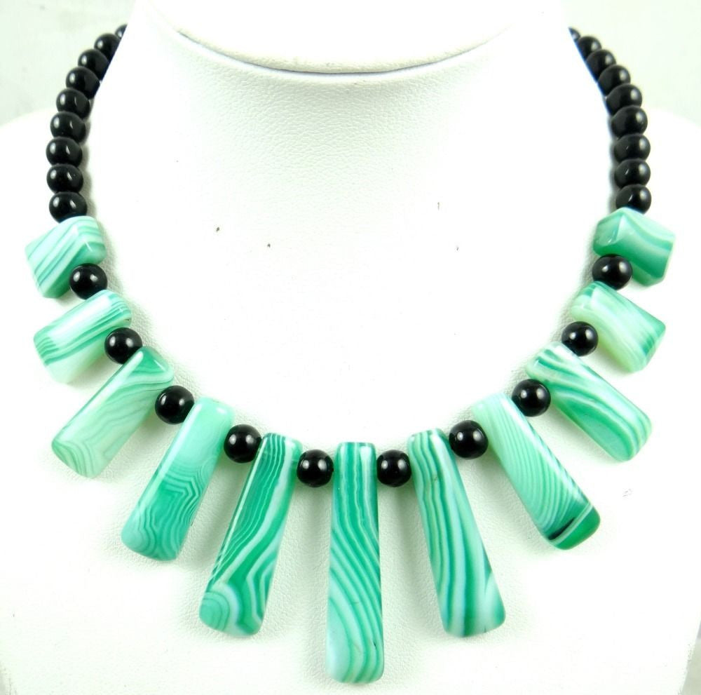 Turquoise stripe agate Handmade Gemstone Jewellery Necklace - Pendants and Charms