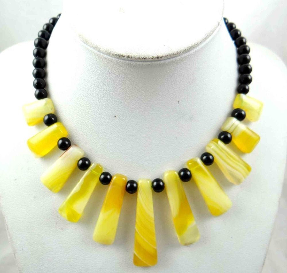 Yellow SEDIMENT JASPER & stripe agate Handmade Gemstone Jewellery Necklace - Pendants and Charms