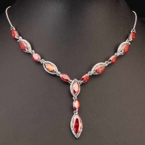 art deco red faceted chech crystal necklace rhinestone - Pendants and Charms
