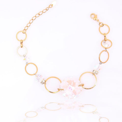 STUNNING GOLD PLATED RAINBOW CRYSTAL BRACELET 480214 - Pendants and Charms