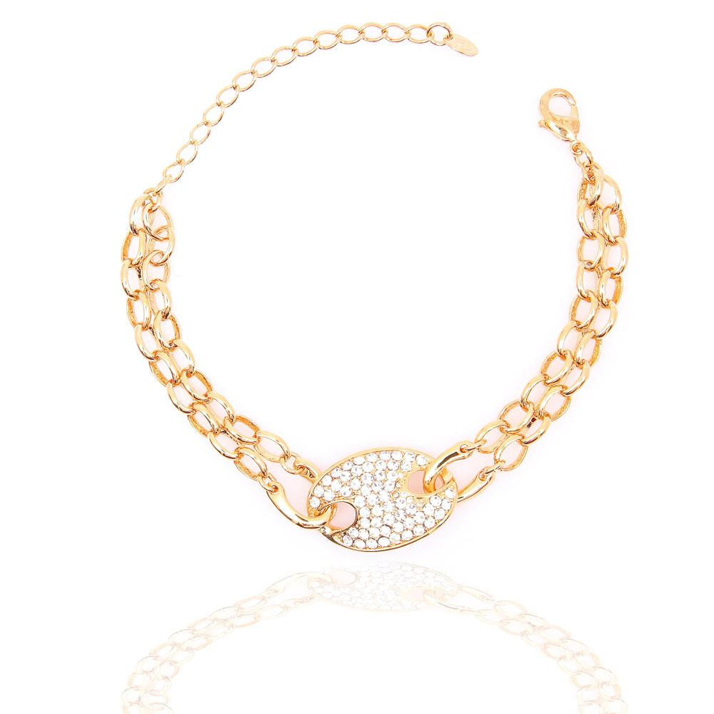 STYLISH GOLD PLATED CLEAR CRYSTAL DOUBLE-CHAIN BRACELET 480206 - Pendants and Charms