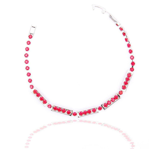 STYLISH SILVER PLATED RED CRYSTAL BRACELET 480209 - Pendants and Charms