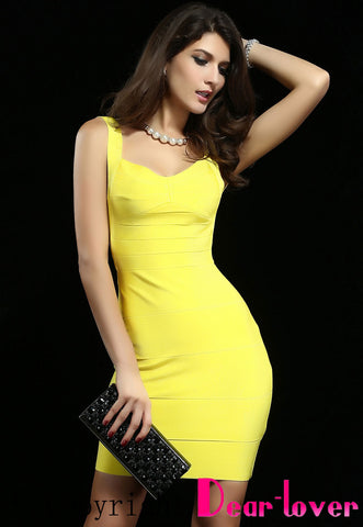 Backless Yellow Bandage Dress - Pendants and Charms