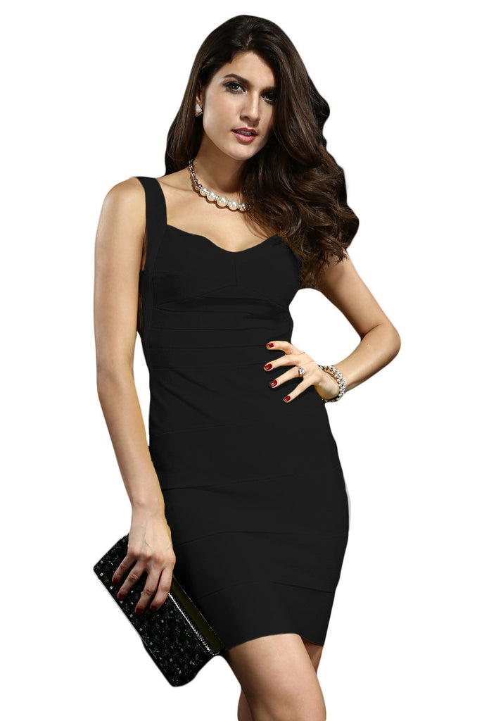 Black Backless Bandage Dress - Pendants and Charms