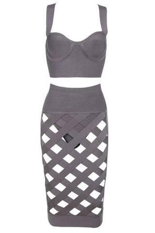 2 Pieces Top Skirt Grey Lattice Caged Bodycon Bandage Dress