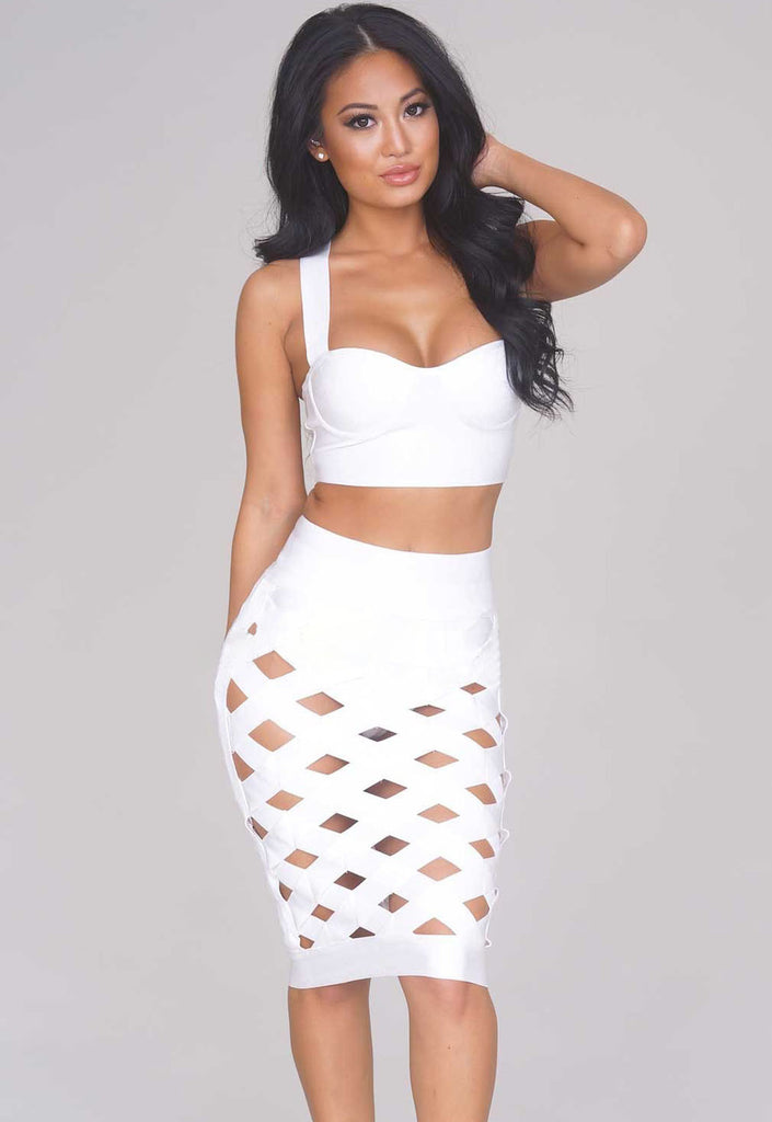 White 2 Pieces Top Skirt Lattice Caged Bodycon Bandage Dress - Pendants and Charms