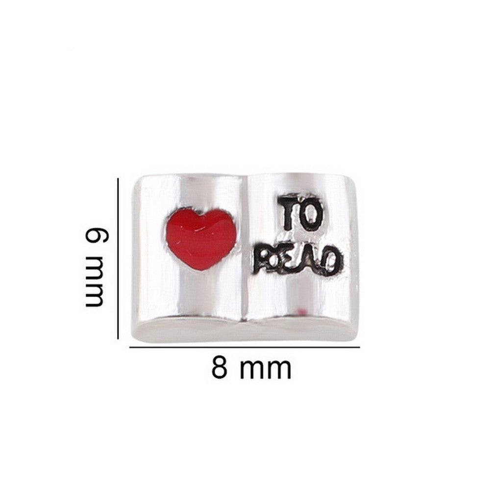 Floating charms Love to Read and 5 Birthstones locket Charm Bracelets necklace - Pendants and Charms