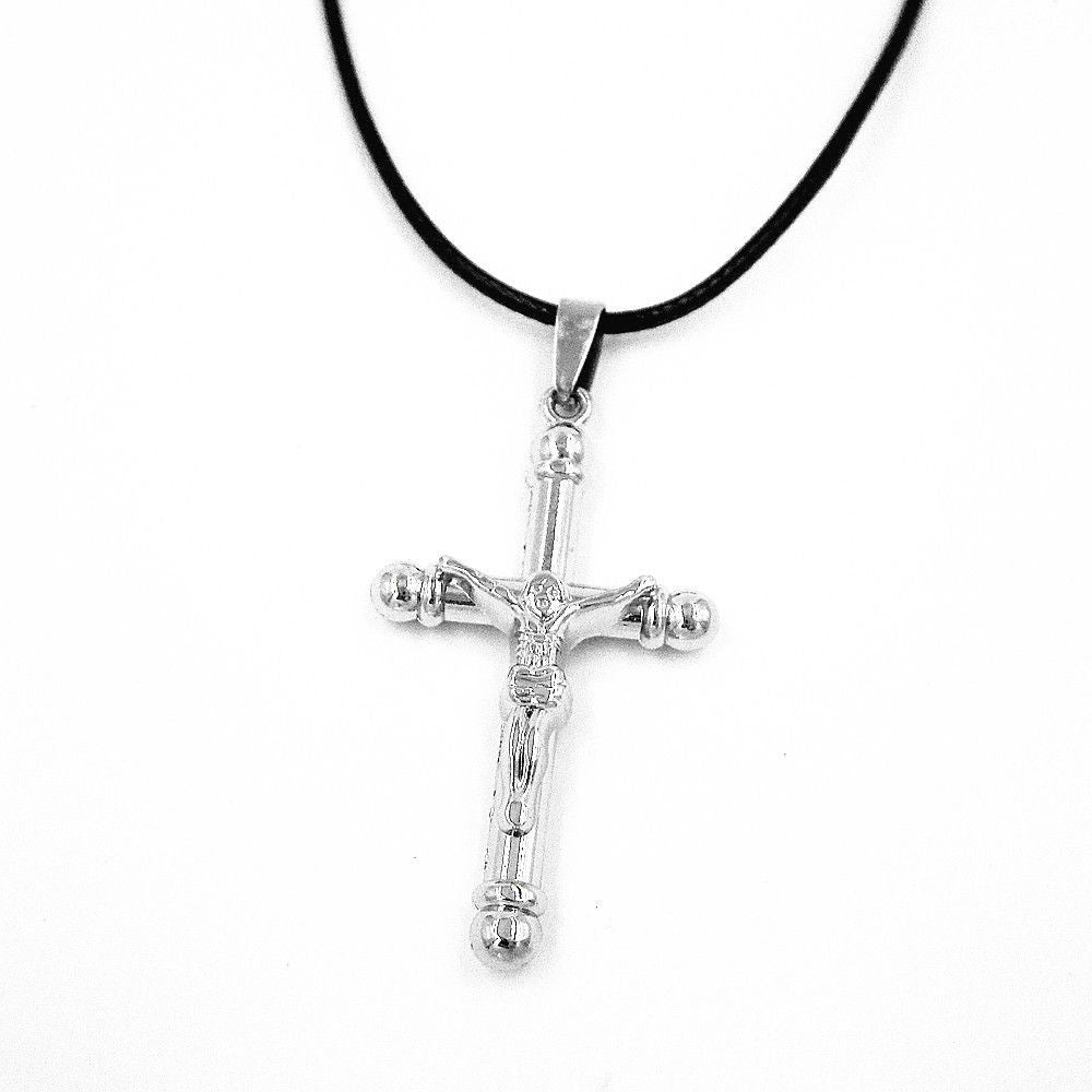 Silver Tone Stainless Steel Jesus Christ Crucifix Cross Short Pendant Necklace - Pendants and Charms