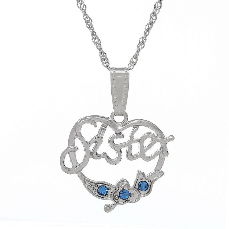 Silver tone heart shape  sister blue rhinestone pendant  necklace B39465 - Pendants and Charms