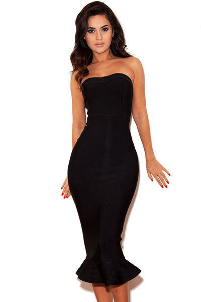 Black Strapless Fishtail Bodycon Bandage Dress - Pendants and Charms