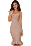 Nude Strapless Fishtail Bodycon Bandage Dress - Pendants and Charms