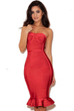 Red Strapless Fishtail Bodycon Bandage Dress - Pendants and Charms