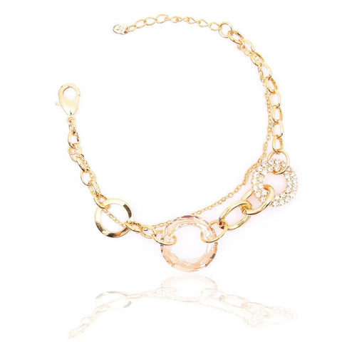 TRENDY GOLD PLATED CLEAR YELLOW CRYSTAL BRACELET 480219 - Pendants and Charms