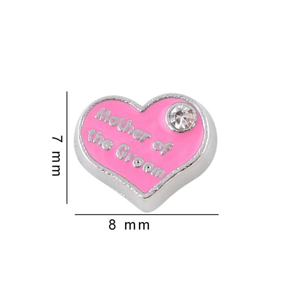 Floating charms Pink Heart Mother of Groom and 5 Birthstones locket Charm Bracelets necklace - Pendants and Charms