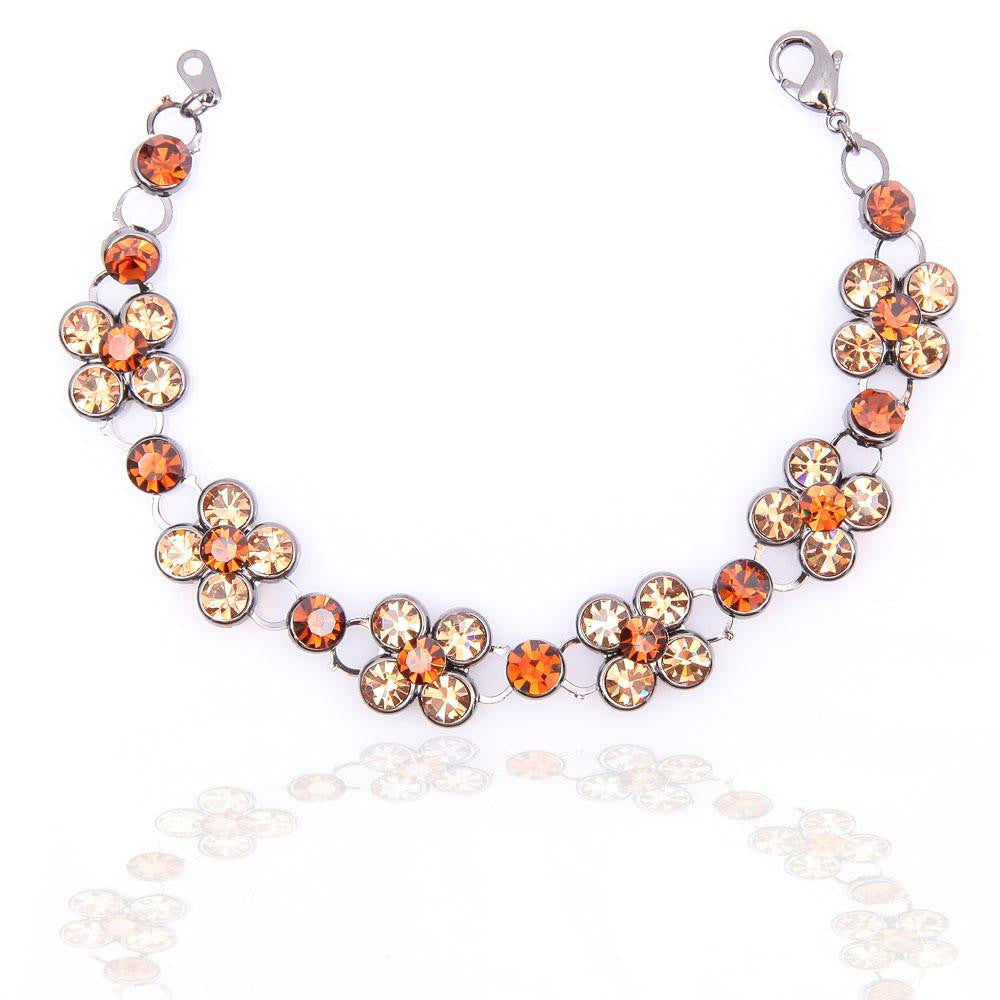 UNIQUE PEWTER PLATED AMBER YELLOW CRYSTAL BRACELET 480207 - Pendants and Charms