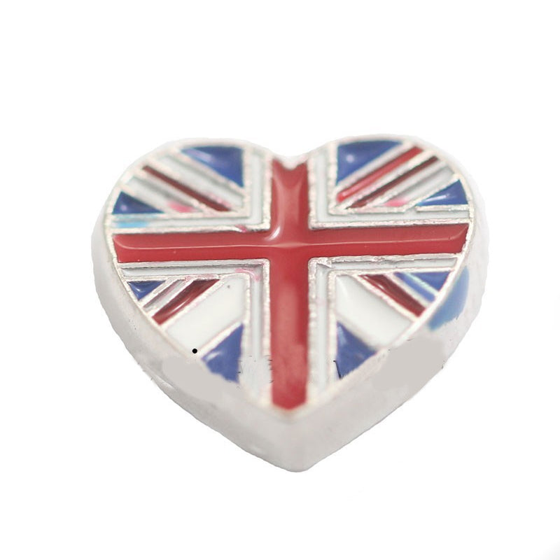 Floating charms heart union jack  and 5 birthstones locket Charm Bracelets necklace - Pendants and Charms
