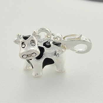 Silver tone cow  clip on Bead for Charm Bracelets Charms necklace floating charms - Pendants and Charms