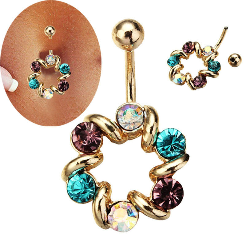 316L Surgical Steel Multi Colour Flower Circle Dangle Body Piercing  Navel Belly Ring Piercing - Pendants and Charms