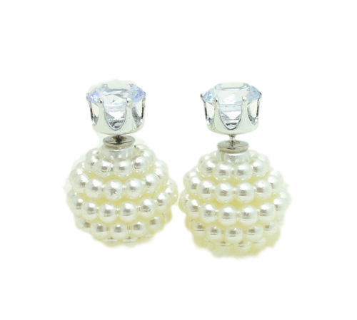 White Pearl Celebrity Runway Double Pearl Beads Plug Earrings Ear Studs - Pendants and Charms
