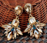 Vogue Charm Resin Crystal Rhinestone Flower Drop Earrings Long Earrings Shourouk Earrings - Pendants and Charms