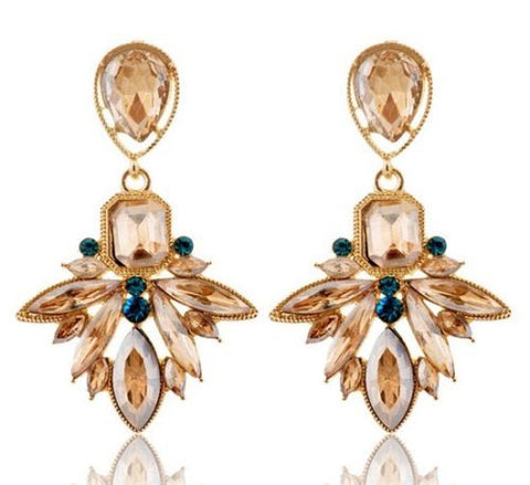 Bohemian Fashion Golden champagne Resin Crystal Flower Dangle Long Earrings Shourouk Earrings - Pendants and Charms