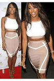 Nude White Crop Top Bodycon Midi Skirt 2pcs Bodycon Bandage Dress - Pendants and Charms