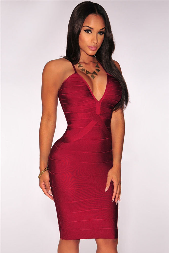 Wine Red Crisscross Plunging Bodycon Bandage Dress - Pendants and Charms