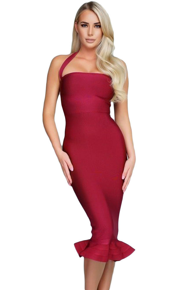 Wine Red Frill Midi Bodycon Bandage Dress - Pendants and Charms