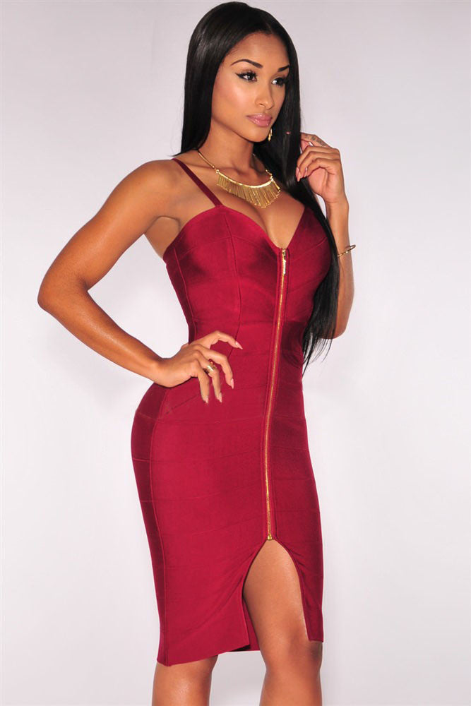Wine Red Front Slit sleeveless Bodycon Bandage Dress - Pendants and Charms
