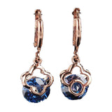 Gold Filled Flower Blue Sapphire Dangle Earrings Hoop Earrings - Pendants and Charms