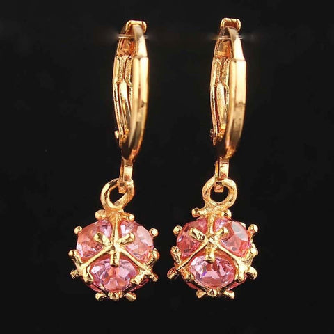 Gold Filled Pink Blue  Green Ball Dangle Earrings Hoop earrings - Pendants and Charms