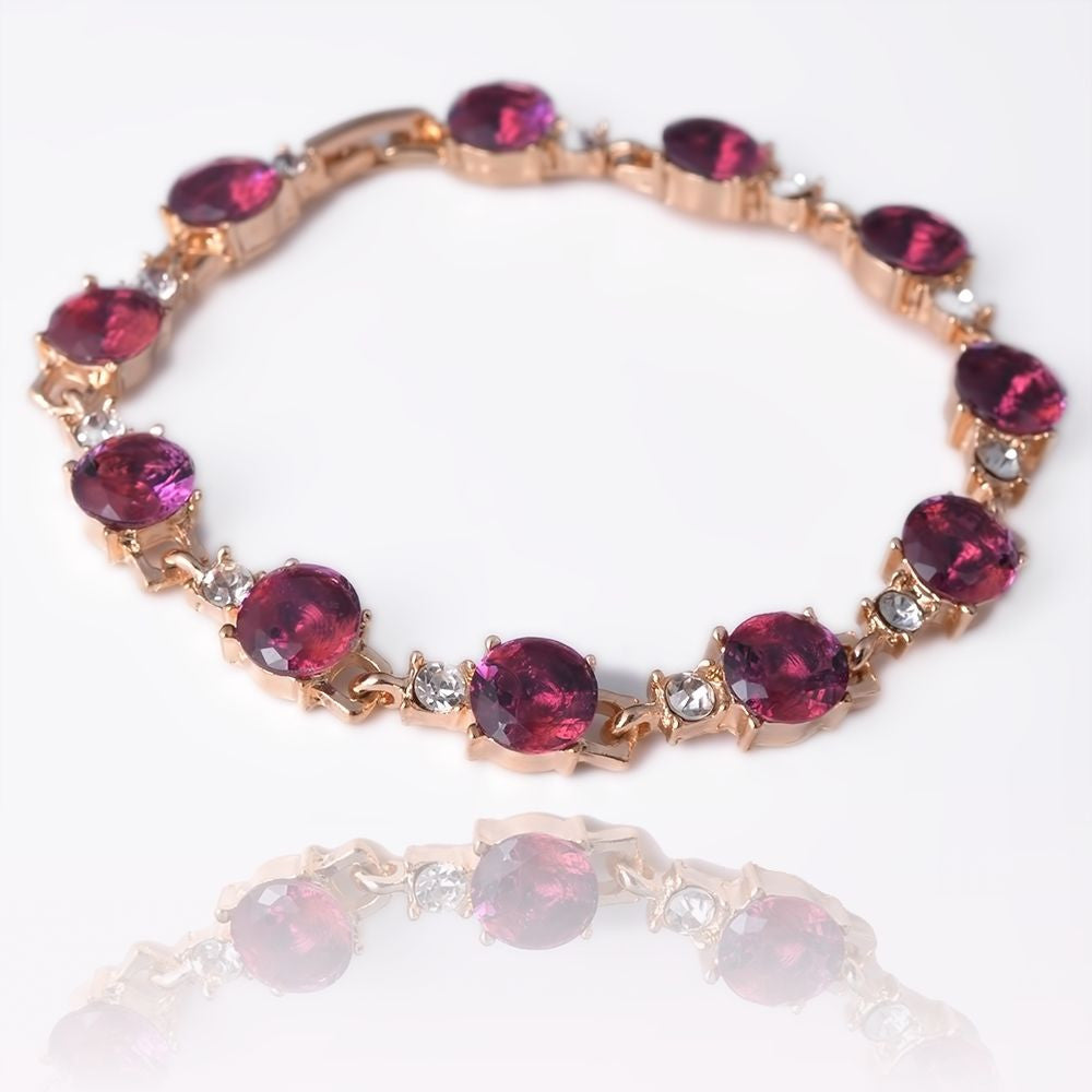 Women 8'' 14k Gold Filled Austrian crystal Pink Sapphire Bracelet Bangle B678