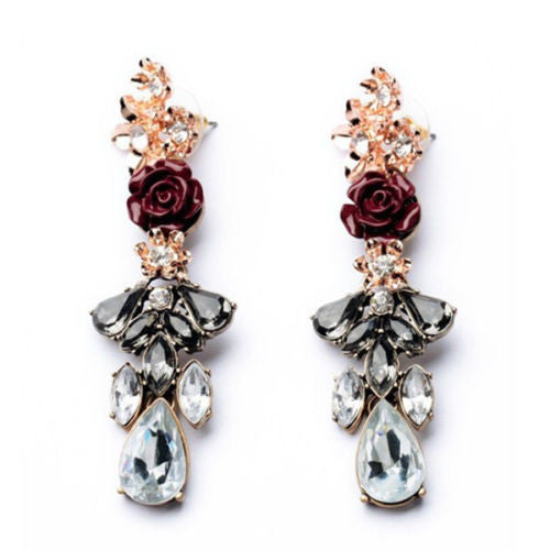 Women Fashion Resin Rose Flower Crystal Rhinestone Ear Studs Drop Earrings - Pendants and Charms