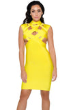 Yellow Cut Out Bodycon Bandage Dress - Pendants and Charms