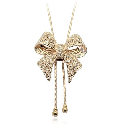 CRYSTAL BOWKNOT BOW BUTTERFLY LONG PENDANT NECKLACE RHINESTONE SWEATER CHAIN - Pendants and Charms