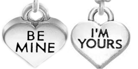 Be Mine I am Yours couple  Best friends old silver  quotes charms pendant necklace for 2 - Pendants and Charms