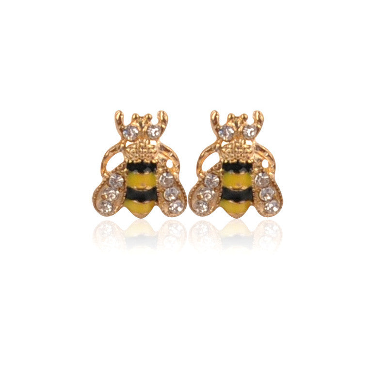 Black Yellow Crystal Rhinestones Bee  Stud Fashion Earrings - Pendants and Charms