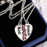 Best Friends 2 pcs Friendship Necklace  Silver Tone Heart with pink rhinestone Short Pendant Necklace - Pendants and Charms