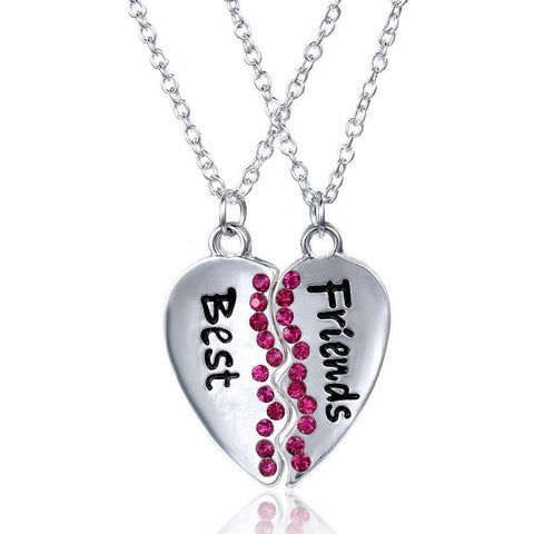 Best Friends 2 pcs Friendship Necklace  Silver Tone Heart with pink rhinestone - Pendants and Charms