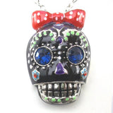 Retro black jewelled  Skull With Red Bow pendant Necklace - Pendants and Charms
