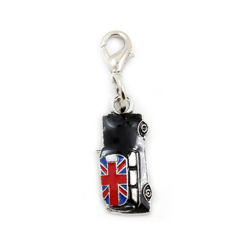 Black  Car Union Jack Silver tone Dangle Bead  charm pendants - Pendants and Charms
