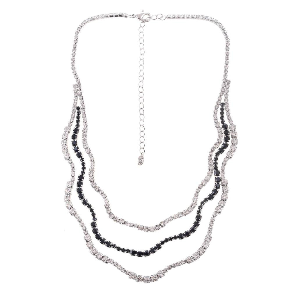 CLEAR  BLACK CASCADING NECKLACE EARRINGS  SET - Pendants and Charms